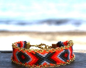 Chain Trimmed Friendship Bracelet. Hot Red.