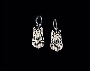 White Swiss Shepherd earrings - sterling silver.