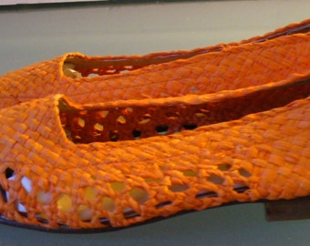Made in Italy Golo Orange Sherbet Raffia Straw Shoes