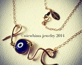 Love Necklace - love and evil eye necklace  - wire word - wire word necklace - nicwhims - evil eye necklace - gold love necklace