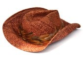Cowboy Hat Western Straw Rooster Feather Band SHADY BRADY for the Stomped on Rock Roll Country Western Look Rough Tumble Straw Cowboy Hat