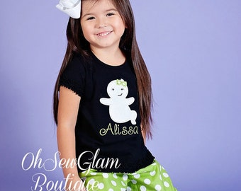 Girls Ghost Halloween Shirt - Embroidered Halloween Shirt - Girls Embroidered Shirt - Halloween Applique Outfit - Halloween Costume