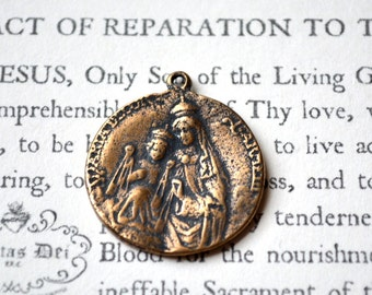 Sacred Heart of Jesus - Our Lady of Mount Carmel - Religious Medal - Bronze or Sterling Silver (M45-537)