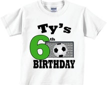 6th, 7th 4th, 5th 8th, 2nd 3rd,  Birthday Shirts for Boys with Soccer Ball