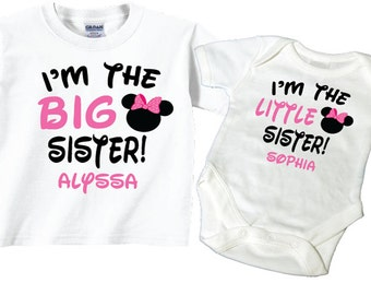 Big Sister, Little Sister Shirts with Pink and Black Lettering Tshirt and Bodysuit Sibling Set Tees