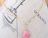 Pink Necklace, Breast cancer survivor necklace, Unique pink necklace gifts, Gold filled pink jade stone jewelry, Beautiful pink jade jewelry