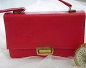 Vintage Mid Century Lipstick Red Handbag with Spring Lock