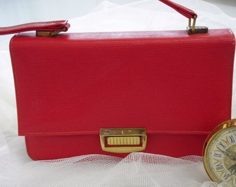 Vintage Mid Century Lipstick Red Handbag with Spring Lock