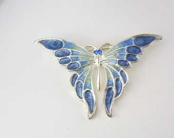 Signed AAI Enamel Butterfly Brooch Vintage Figural Holiday