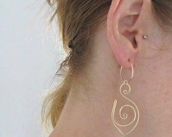 Gold Hoop Earrings, Spiral Hoops Gold Dangle Earrings