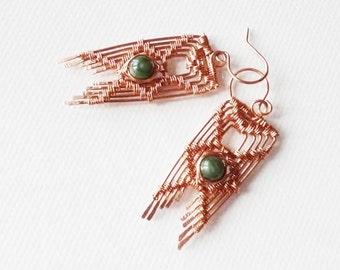 Wire Wrapped Earrings with Jade, Copper jewelry, Chevron Earrings, Wirework jewelry