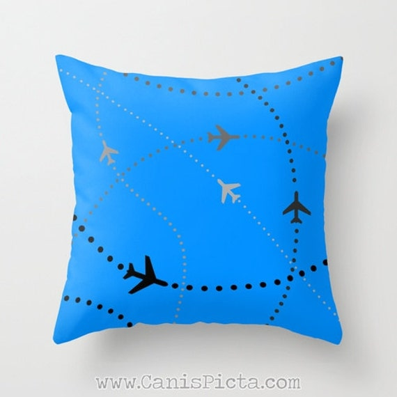 Decorative Airplane Pillow : Airplane Throw Pillow 16x16 Decorative Cover Bright Modern