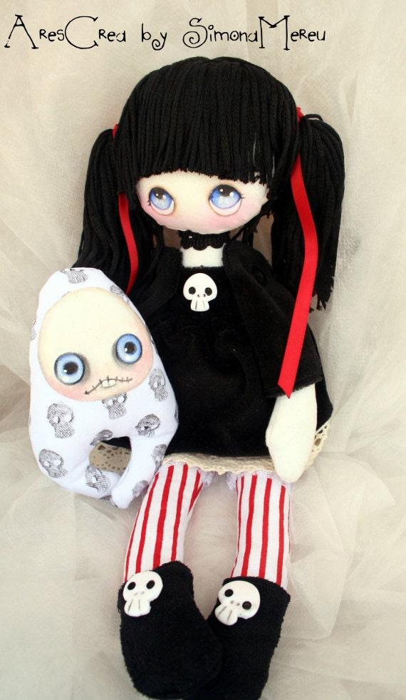 Handmade Gothic Harajuku Fashion W H Naoto Spiderweb Bag: Abigail Handmade Gothic Cloth Doll With Skulls And Monster
