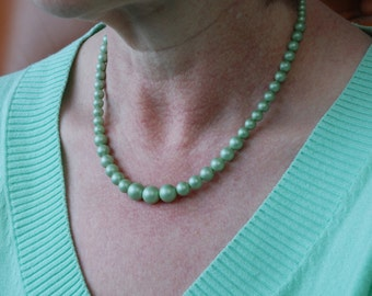 Mint Pearl Necklace - Graduated Shell Pearl Necklace - Seafoam Green Necklace - Pearl Wedding Jewelry