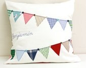 Personalized Bunting Flag Appliqué Pillow Memory Pillow Custom Pennant Banner Pillow Hand Embroidery Bereavement Gift Baby Keepsake