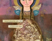 Destined for Glory Mixed Media Girl Painting with Inspirational Quote  / 9 inch by 12 inch / Girl Art Acrylic Painting