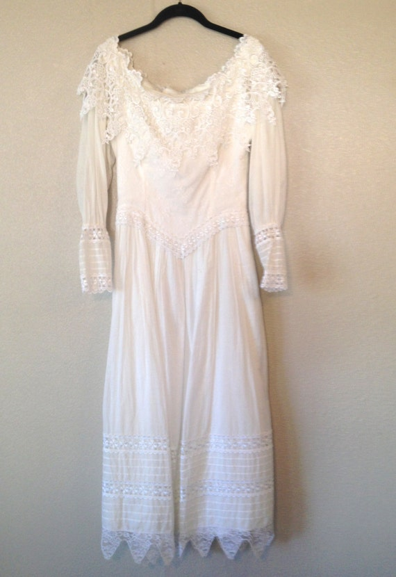 Vintage white jessica mcclintock wedding dress 1980s for Jessica mcclintock wedding dresses outlet