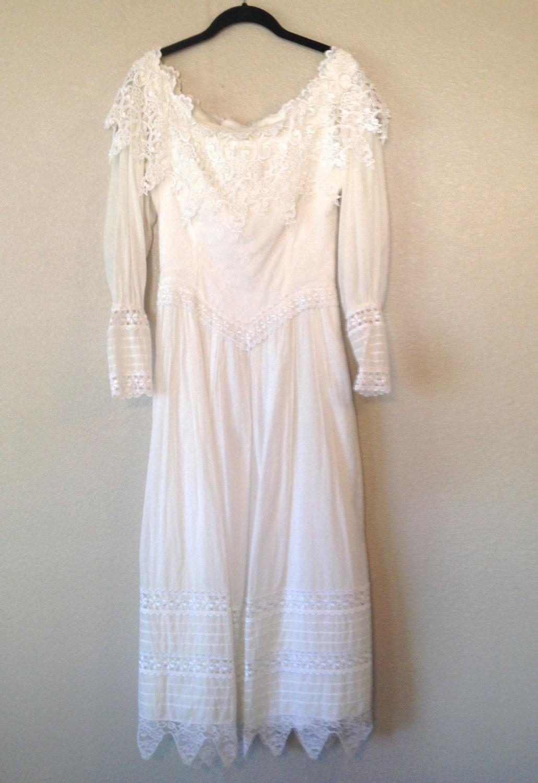 vintage wedding dress long sleeve dress Jessica McClintock