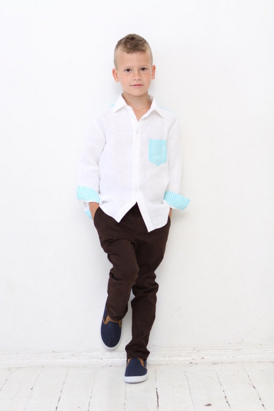 Our collection of boy's linen shirts in matching styles and colors to our men's linen shirts. Includes a rich variety of colors such as white, blue, & more.