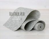 "100%  Merino Wool Felt Roll - Wool Felt Roll 5"" x 36"" - Wool Felt Color Heathered Ash-9040 - Heather Wool Felt - Gray Heather Wool Felt"
