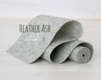 "100%  Merino Wool Felt Roll - Wool Felt Roll 5"" x 36"" - Wool Felt Color Heathered Ash-9040 - Heather Wool Felt - Gray Heather Wool Felt"
