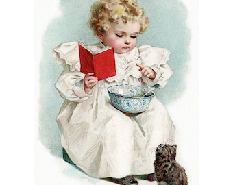 Kitten Fabric Block - Girl Teaches Cat to Read - Maud Humphrey