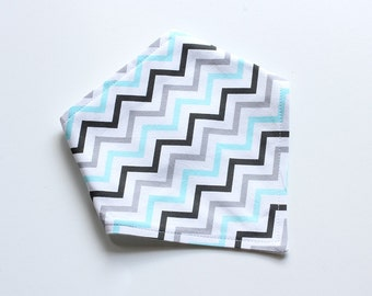 Adjustable Bandana Bib || Mini Chevron Sky