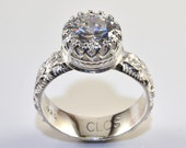 Cubic Zirconia Ring in Sterling Silver, Faceted CZ Stone in Crown Setting and Flower Pattern Band
