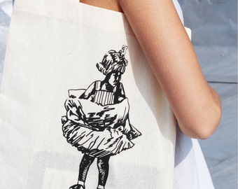 Upcycle Roller Skate Child Screen Printed Tote Bag, Blue or Black