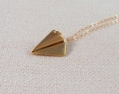 Gold Paper Plane Necklace, Origami Jewelry, Airplane, 14K Gold Fill Chain