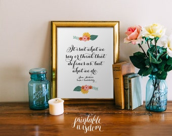 Jane Austen Quote printable, print art Sense Sensibility wall decor INSTANT DOWNLOAD, inspirational quotes digital typography