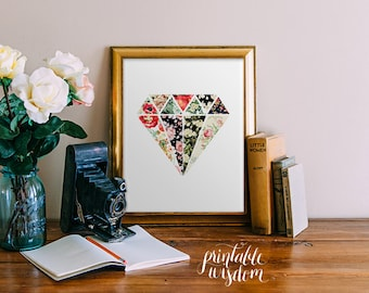 Wall Art Print, Printable Wisdom Wall Decor, Diamond Floral Flower Abstract  Art, Printable Part 48