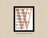 Weasley Family Printable Wall Art, Custom Family Names