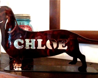 Dachshund on a stand