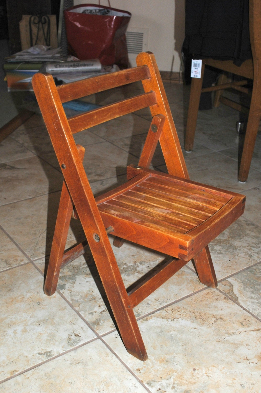 child 39 s wooden vintage folding slat chair handcrafted in