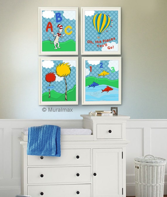 Dr Seuss Nursery Decor Cat In The Hat One Fish Two By Muralmax