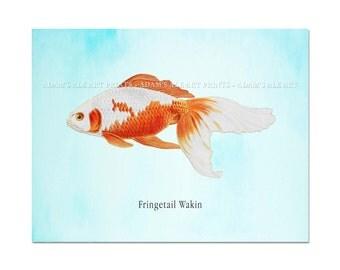 Goldfish Print, Beautiful Goldfish on A Watercolor Blue Background, Beach House Art, Coastal Art, Coastal Decor, Fish Art, Goldfish Poster