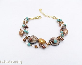 Brown freshwater pearl bracelet with blue turquoise, mother of pearl, crystal on silk thread, brown blue bracelet