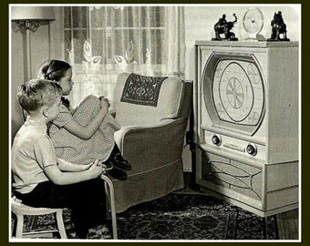 1950's TV television black and white test pattern Fridge Magnet, Children watching and waiting for a show to come on