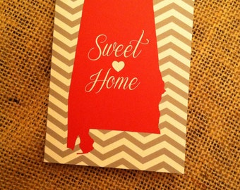 Sweet Home Alabama Note Cards, Gray and White Chevron Stationery