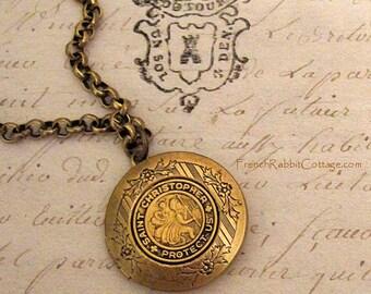 St CHRISTOPHER Necklace LOCKET Pendant Catholic Religious Medal. Jewelry Gift for Women. Patron Saint of Travel & Travelers.Catholic Jewelry