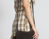Dark Brown Leather Woven Flap Front Braided Long Shoulder Strap with Gold Hardware and Long Tassel Cross Body Messenger Shoulder Bag Purse