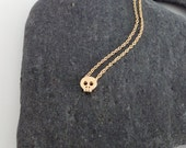Dainty Necklace, Tiny Gold Skull, Delicate Fine Chain, Simple Necklace, Contemporary Minimalist Jewellery