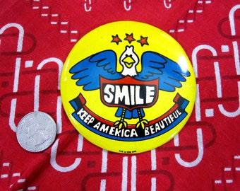 "Vintage ""Keep America Beautiful""  3.25"" Pinback / Button 1970's"
