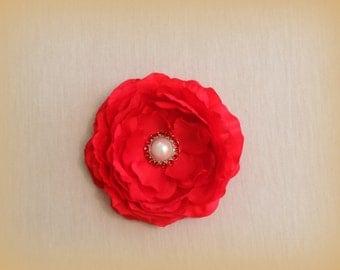 Red Flower Hair Clip,  Hair Clip, Rhinestone Flower Clip, medium Flower Clip, red Hair Bow,red bridal flower, wedding accessories