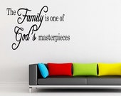 Masterpiece Family's Gods words Wall Decal Quote Family Home Decor Lettering Letters (211)