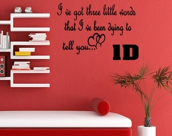 Three Little Words One Direction Wall Decal Quote Wall Quote Sticker Art (M31)