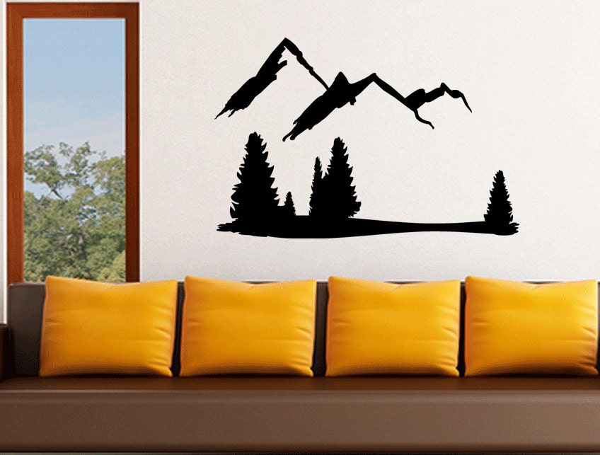 Wall Art Stickers Vector : Mountains and trees wall decal vinyl sticker art vector