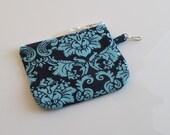 Blue Damask Aqua Print Turquoise Zipper Pouch Wallet Keychain