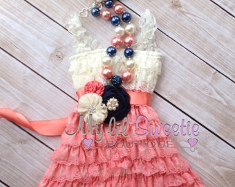 New Ivory Coral navy 4 piece set, dress, necklace, sash, headband, birthday outfit, infant outfit, special occasion dress, toddler dress